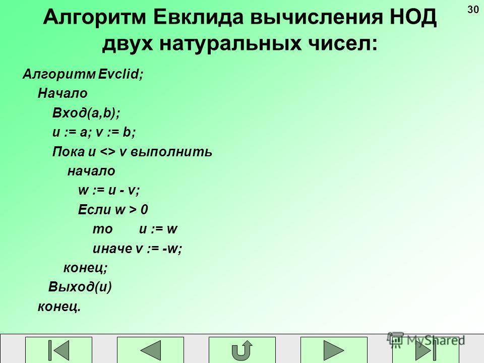 30 Алгоритм Евклида вычисления НОД двух натуральных чисел: Алгоритм Evclid; Начало Вход(a,b); u := a; v := b; Пока u  v выполнить начало w := u - v; Если w > 0 то u := w иначе v := -w; конец; Выход(u) конец.