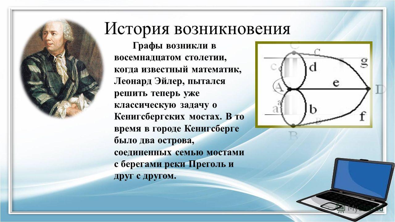 История возникновения Графы возникли в восемнадцатом столетии, когда известный математик, Леонард Эйлер, пытался решить теперь уже классическую задачу о Кенигсбергских мостах. В то время в городе Кенигсберге было два острова, соединенных семью мостам