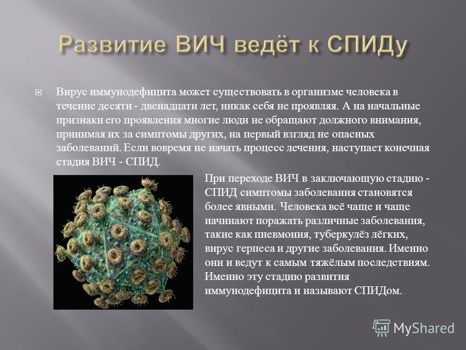 Вирус иммунодефицита может существовать в организме человека в течение десяти - двенадцати лет, никак себя не проявляя. А на начальные признаки его проявления многие люди не обращают должного внимания, принимая их за симптомы других, на первый взгляд