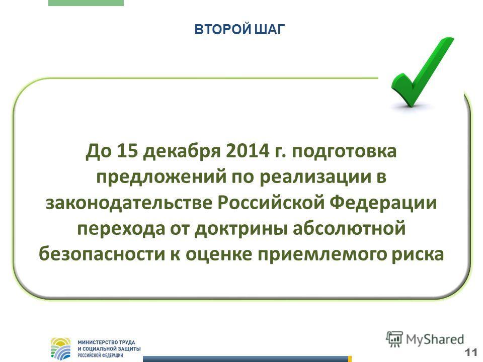 11 До 15 декабря 2014 г. подготовка предложений по реализации в законодательстве Российской Федерации перехода от доктрины абсолютной безопасности к оценке приемлемого риска ВТОРОЙ ШАГ