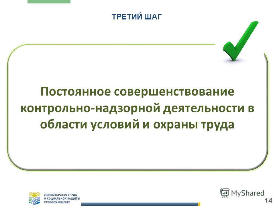 14 Постоянное совершенствование контрольно-надзорной деятельности в области условий и охраны труда ТРЕТИЙ ШАГ