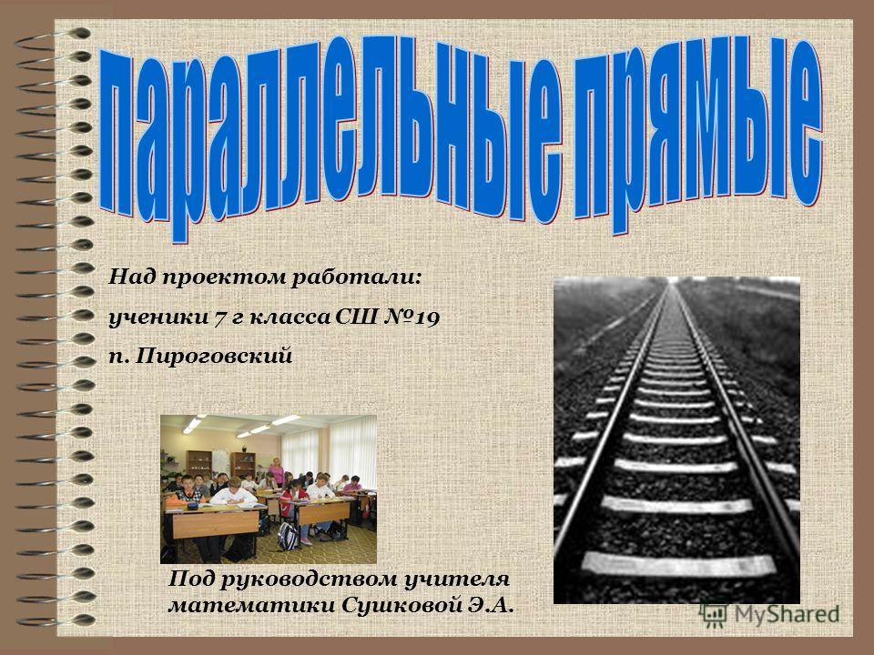 Над проектом работали: ученики 7 г класса СШ 19 п. Пироговский Под руководством учителя математики Сушковой Э.А.
