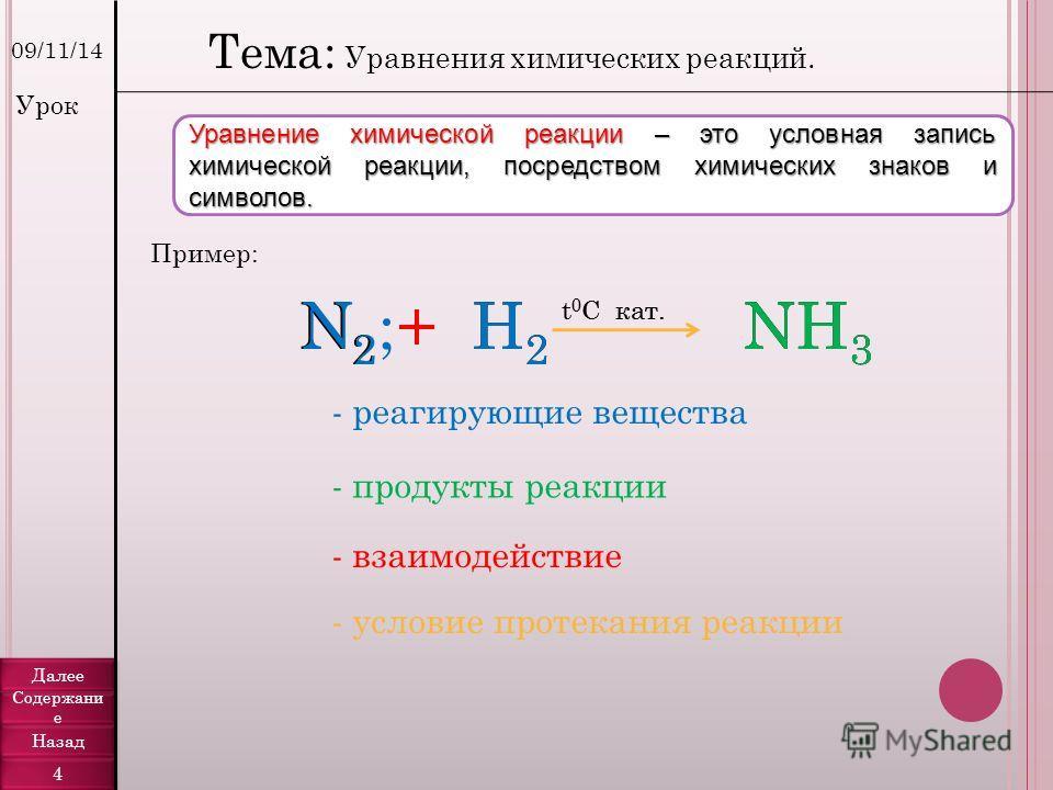 09/11/14 Уравнение химической реакции – это условная запись химической реакции, посредством химических знаков и символов. Пример: N2N2 +H2H2 NH 3 t 0 C кат. Тема: Уравнения химических реакций. N2;N2;+H2H2 NH 3 t 0 C кат. - реагирующие вещества - прод