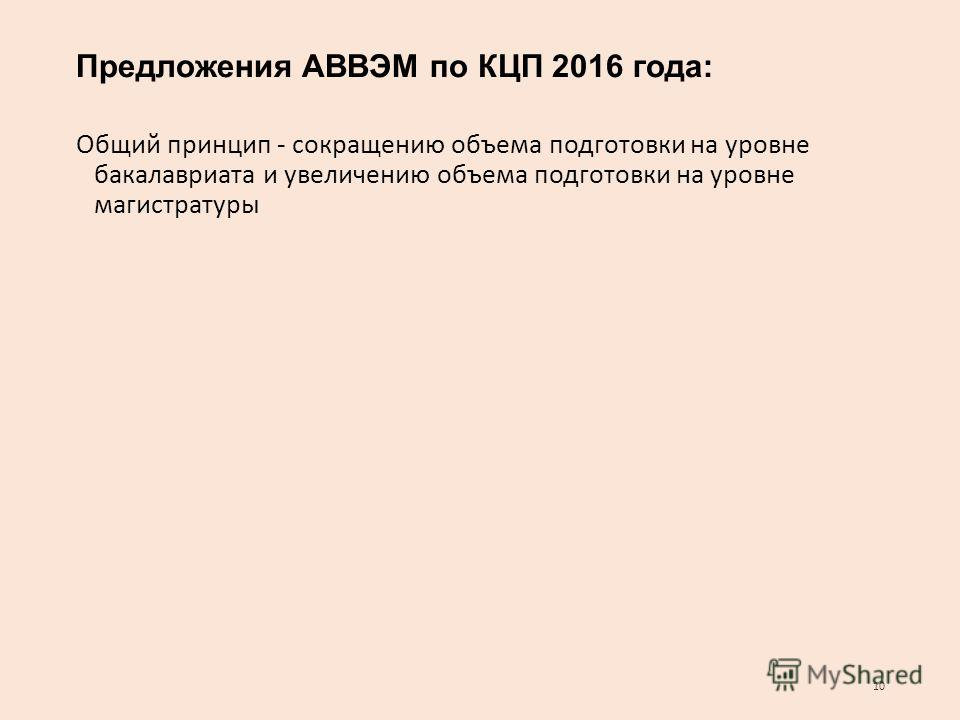 Предложения АВВЭМ по КЦП 2016 года: Общий принцип - сокращению объема подготовки на уровне бакалавриата и увеличению объема подготовки на уровне магистратуры 10