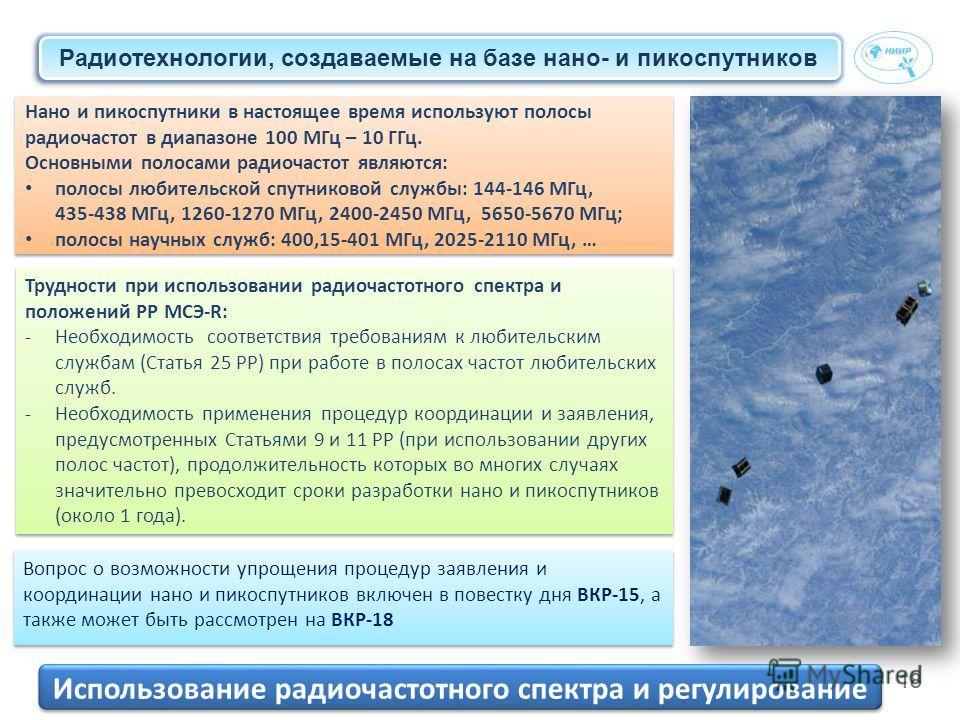 18 Нано и пикоспутники в настоящее время используют полосы радиочастот в диапазоне 100 МГц – 10 ГГц. Основными полосами радиочастот являются: полосы любительской спутниковой службы: 144-146 МГц, 435-438 МГц, 1260-1270 МГц, 2400-2450 МГц, 5650-5670 МГ