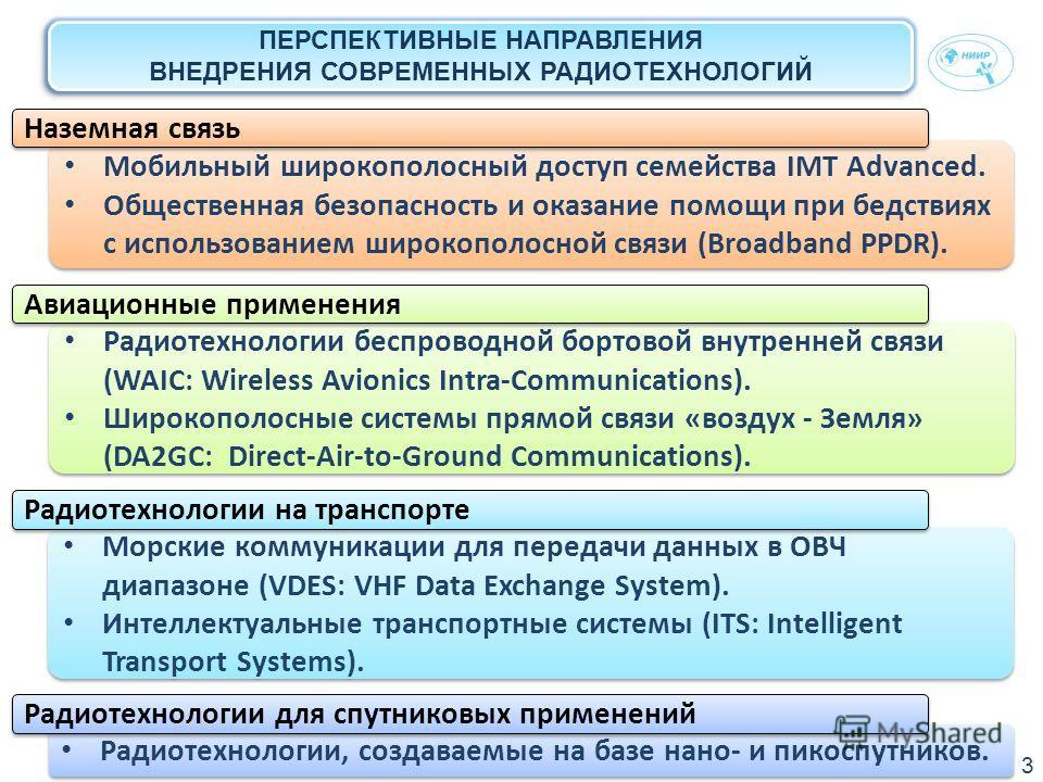 ПЕРСПЕКТИВНЫЕ НАПРАВЛЕНИЯ ВНЕДРЕНИЯ СОВРЕМЕННЫХ РАДИОТЕХНОЛОГИЙ Мобильный широкополосный доступ семейства IMT Advanced. Общественная безопасность и оказание помощи при бедствиях с использованием широкополосной связи (Broadband PPDR). Мобильный широко