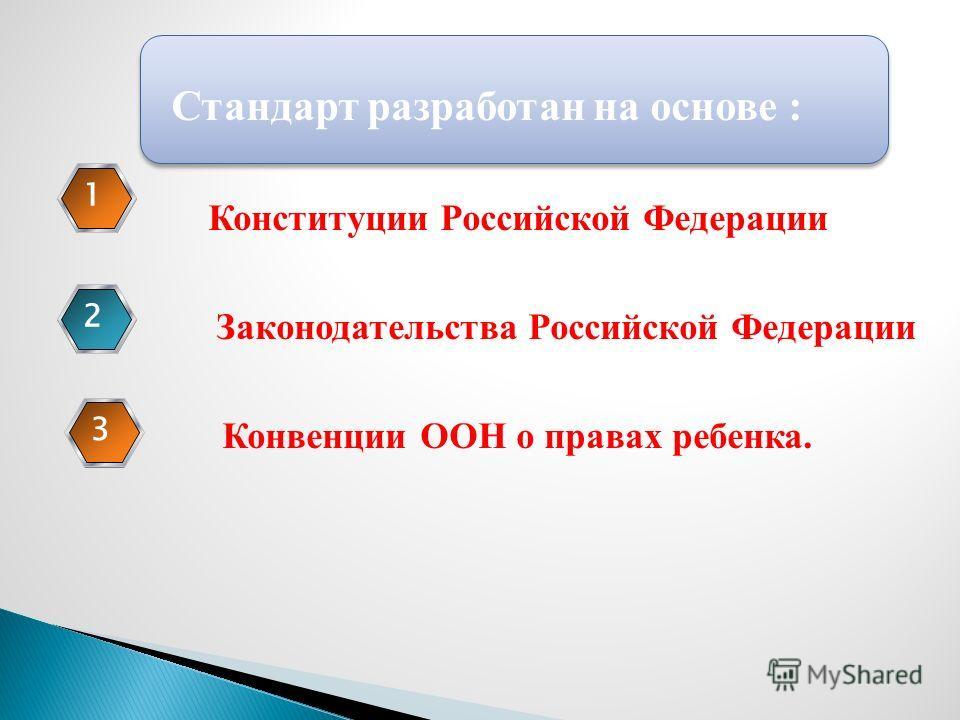 Стандарт разработан на основе : Конституции Российской Федерации Законодательства Российской Федерации Конвенции ООН о правах ребенка. 123