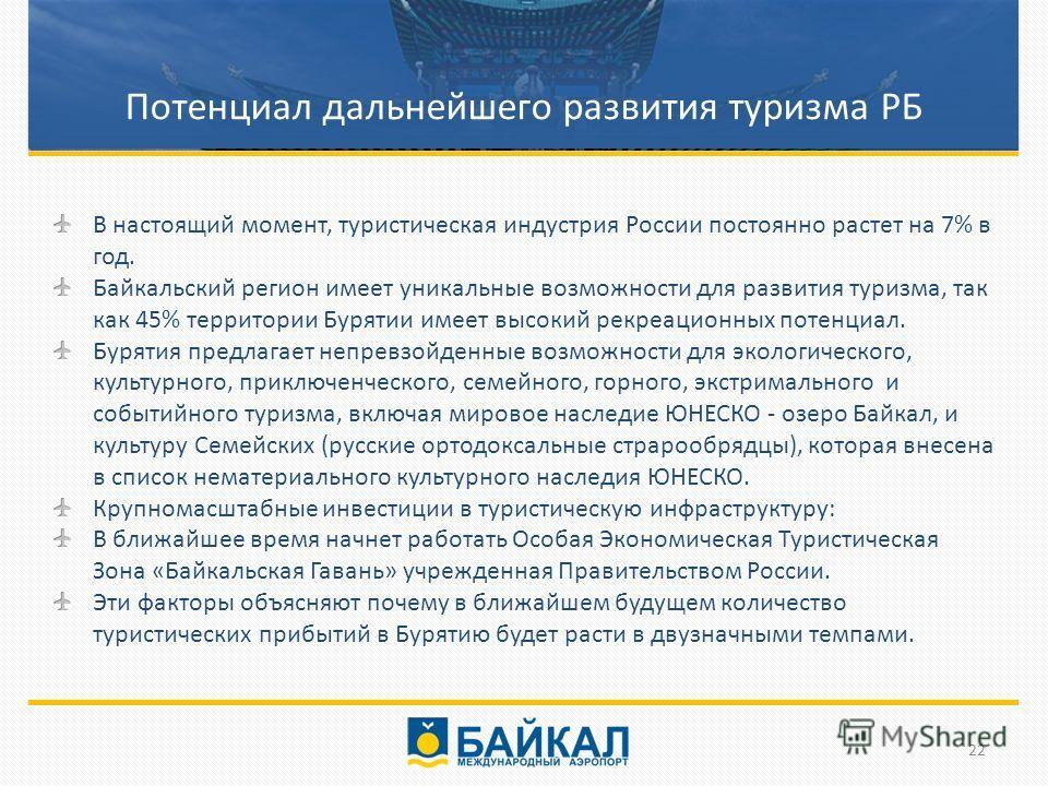В настоящий момент, туристическая индустрия России постоянно растет на 7% в год. Байкальский регион имеет уникальные возможности для развития туризма, так как 45% территории Бурятии имеет высокий рекреационных потенциал. Бурятия предлагает непревзойд