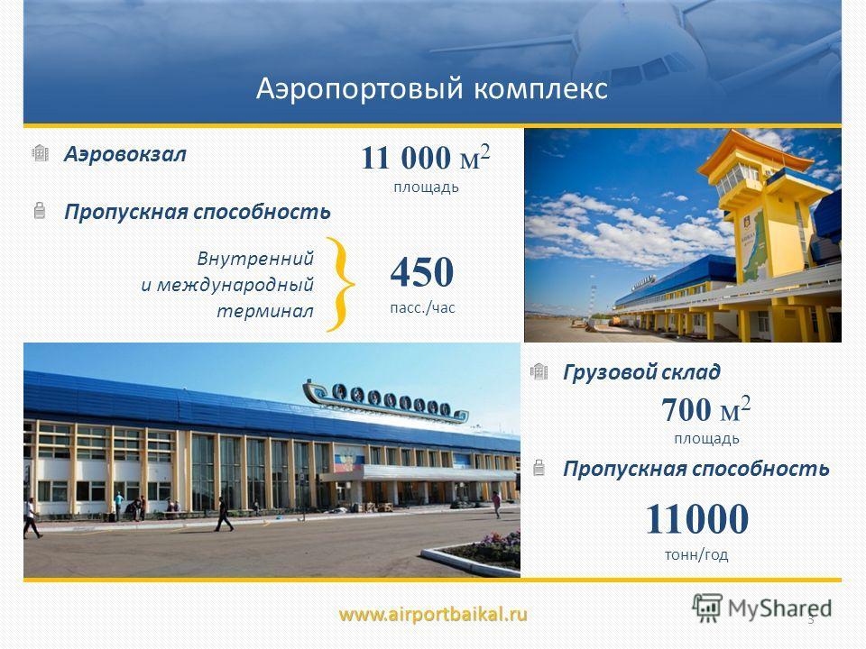 Аэропортовый комплекс Аэровокзал Пропускная способность 450 пасс./час { Внутренний и международный терминал 11000 тонн/год 11 000 м 2 площадь 700 м 2 площадь Грузовой склад Пропускная способность www.airportbaikal.ru 3