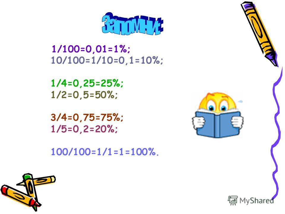 1/100=0,01=1%; 10/100=1/10=0,1=10%; 1/4=0,25=25%; 1/2=0,5=50%; 3/4=0,75=75%; 1/5=0,2=20%; 100/100=1/1=1=100%.