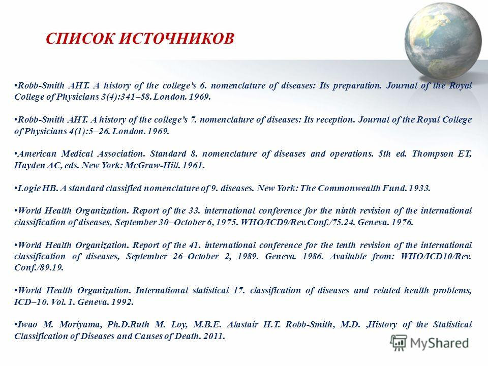 СПИСОК ИСТОЧНИКОВ Robb-Smith AHT. A history of the colleges 6. nomenclature of diseases: Its preparation. Journal of the Royal College of Physicians 3(4):341–58. London. 1969. Robb-Smith AHT. A history of the colleges 7. nomenclature of diseases: Its