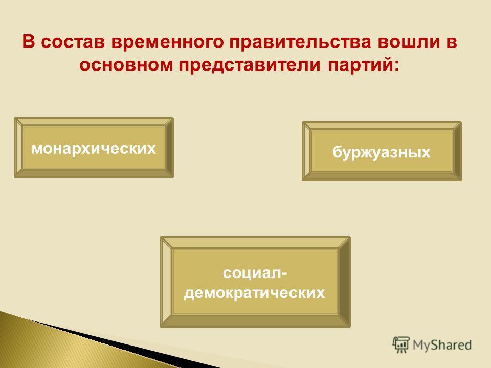 В состав временного правительства вошли в основном представители партий: монархических буржуазных социал- демократических