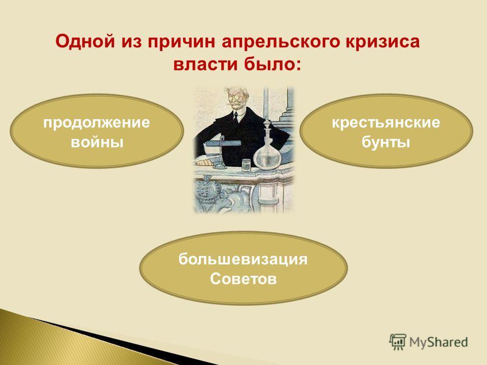 Одной из причин апрельского кризиса власти было: продолжение войны большевизация Советов крестьянские бунты
