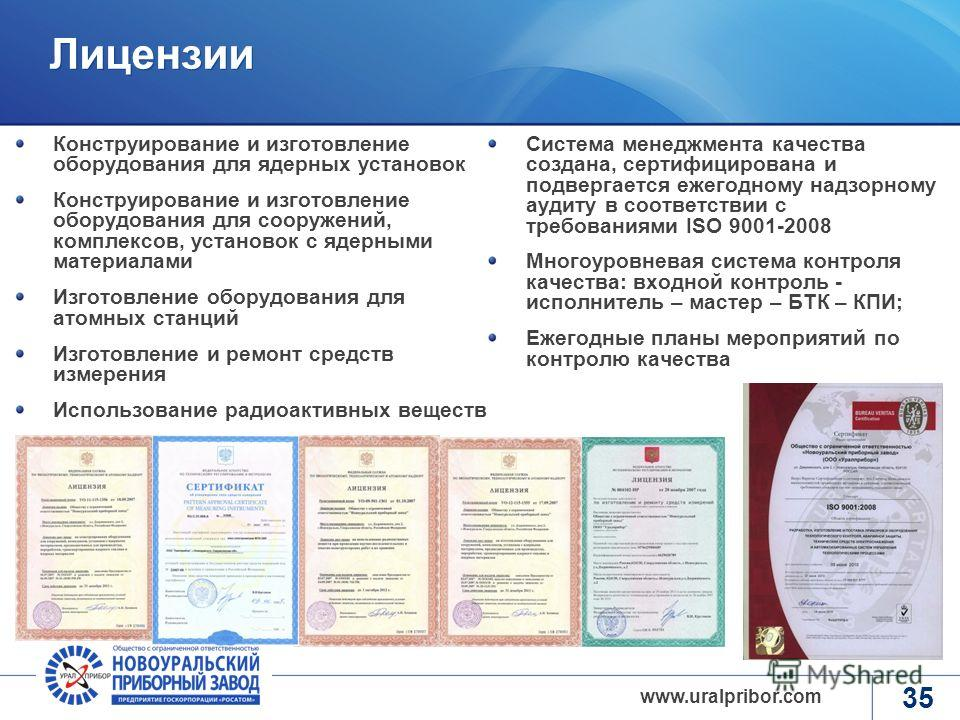 www.rosatom.ru www.uralpribor.com 34 Открытые вопросы, проблемы (в части взаимодействия с предприятиями ВПК) Низкая коммуникативная активность предприятий ВПК – длительность установления первоначальных контактов и получения информации по потенциальны