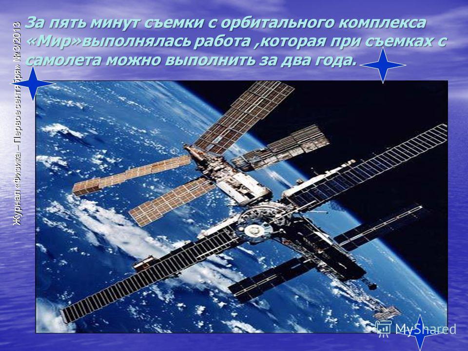 За пять минут съемки с орбитального комплекса «Мир»выполнялась работа,которая при съемках с самолета можно выполнить за два года.