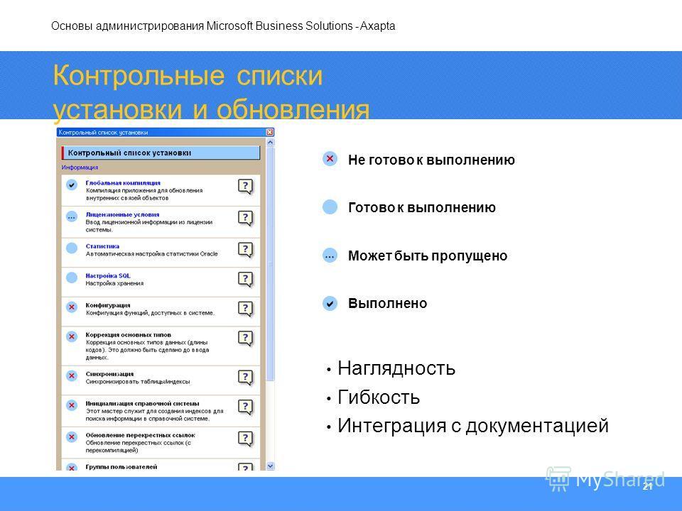 Основы администрирования Microsoft Business Solutions - Axapta 21 Контрольные списки установки и обновления Не готово к выполнению Готово к выполнению Может быть пропущено Выполнено Наглядность Гибкость Интеграция с документацией