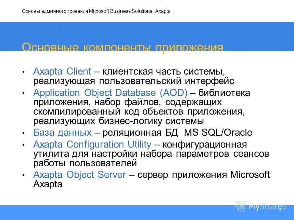 Основы администрирования Microsoft Business Solutions - Axapta 4 Основные компоненты приложения Axapta Client – клиентская часть системы, реализующая пользовательский интерфейс Application Object Database (AOD) – библиотека приложения, набор файлов,