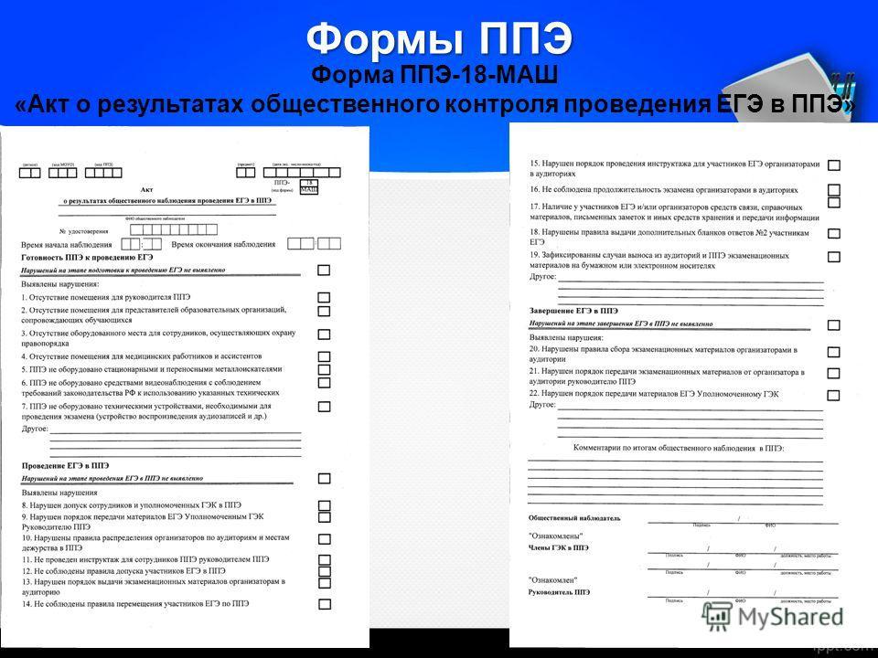 Формы ППЭ Форма ППЭ-18-МАШ «Акт о результатах общественного контроля проведения ЕГЭ в ППЭ»