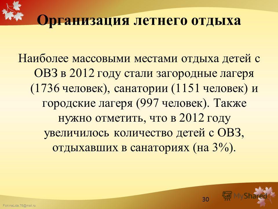 FokinaLida.75@mail.ru Организация летнего отдыха Наиболее массовыми местами отдыха детей с ОВЗ в 2012 году стали загородные лагеря (1736 человек), санатории (1151 человек) и городские лагеря (997 человек). Также нужно отметить, что в 2012 году увелич