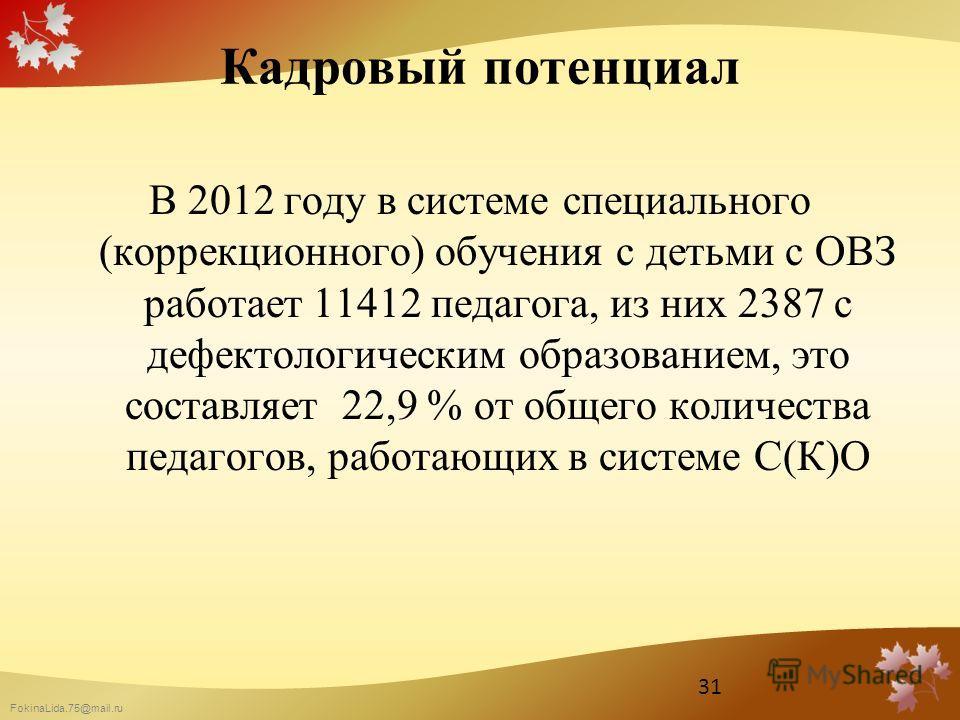 FokinaLida.75@mail.ru Кадровый потенциал В 2012 году в системе специального (коррекционного) обучения с детьми с ОВЗ работает 11412 педагога, из них 2387 с дефектологическим образованием, это составляет 22,9 % от общего количества педагогов, работающ