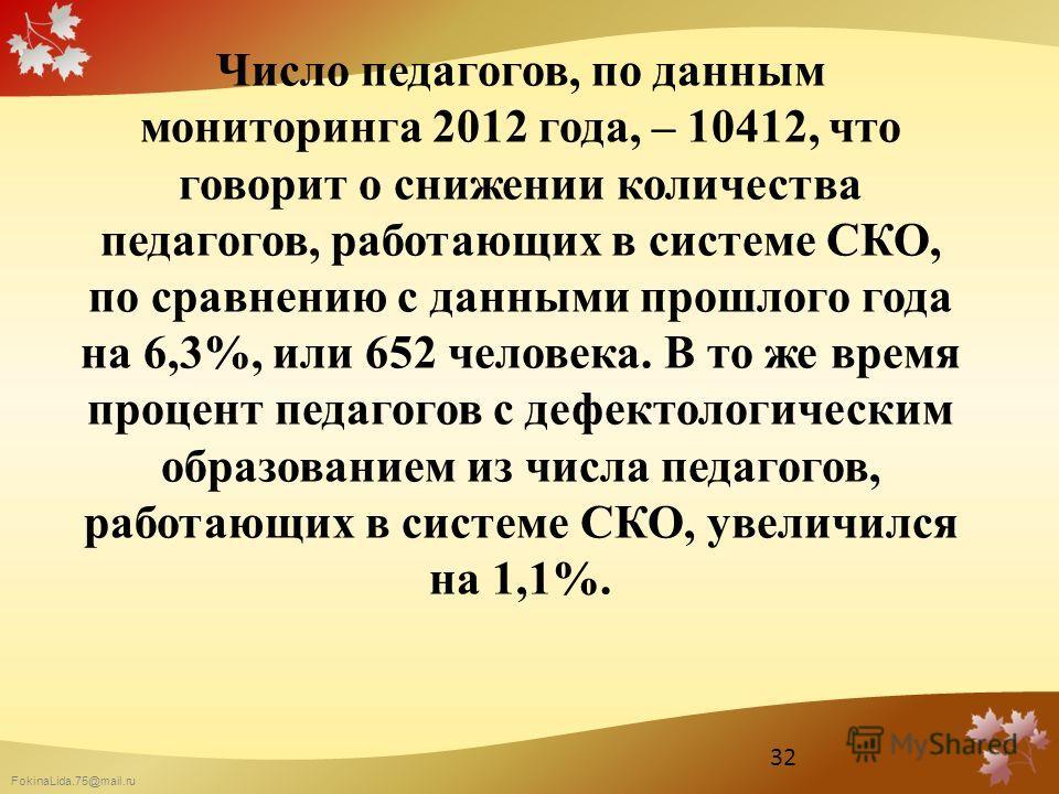 FokinaLida.75@mail.ru Число педагогов, по данным мониторинга 2012 года, – 10412, что говорит о снижении количества педагогов, работающих в системе СКО, по сравнению с данными прошлого года на 6,3%, или 652 человека. В то же время процент педагогов с