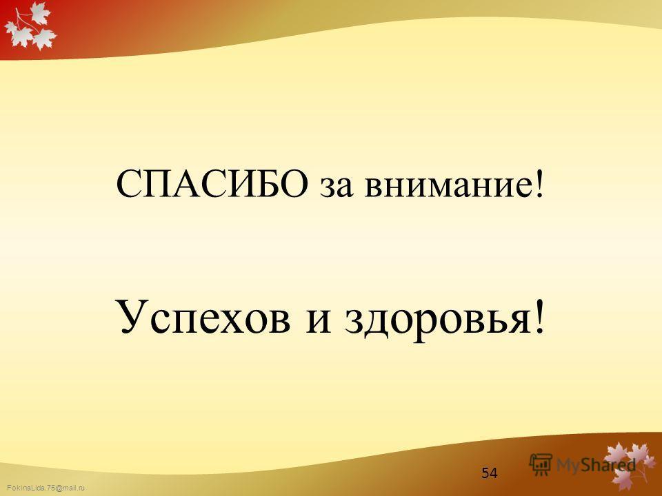 FokinaLida.75@mail.ru СПАСИБО за внимание! Успехов и здоровья! 54