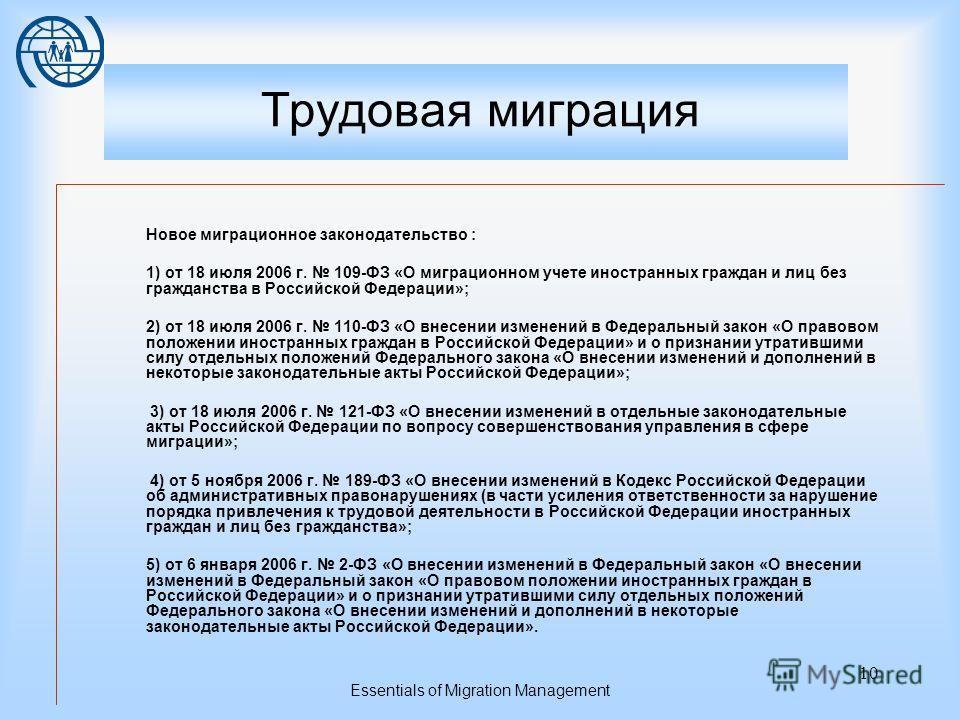 Essentials of Migration Management 9 Трудовая миграция Регулирование рынка труда В 2005 году на политическом уровне было признано, что нужны перемены в сторону либерализации миграционного законодательства (президент России В. Путин неоднократно обращ