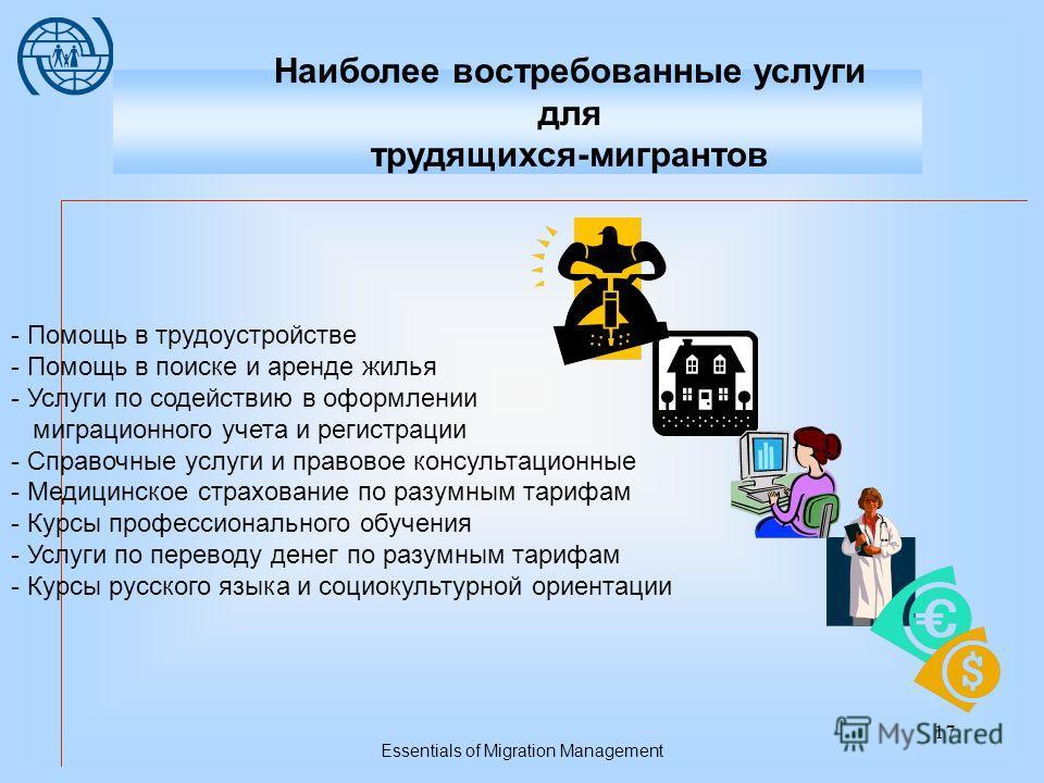 Essentials of Migration Management 16 Права мигрантов, защита мигрантов от проявлений дискриминации и ксенофобии Сохранение открытых каналов законной миграции Содействие возвращению мигрантов на родину и их реинтеграции Миграция и развитие –Денежные