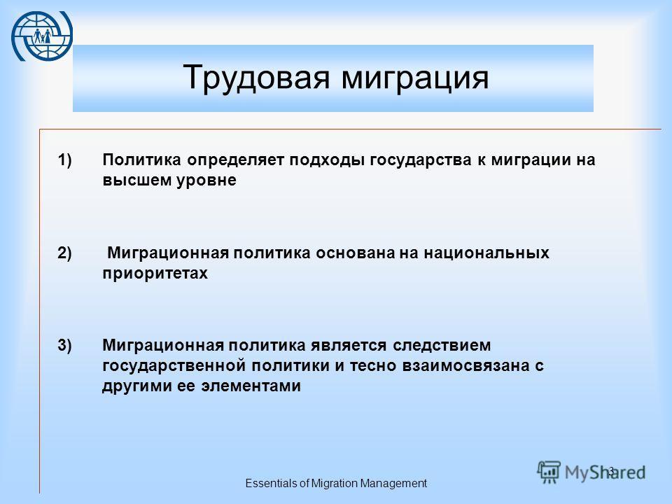 Essentials of Migration Management 2 Концептуальная модель управления миграцией Политика Законодательство Административная структура Основные области управления миграцией Миграция и развитие Содействие миграции Регулирование миграции Вынужденная мигр