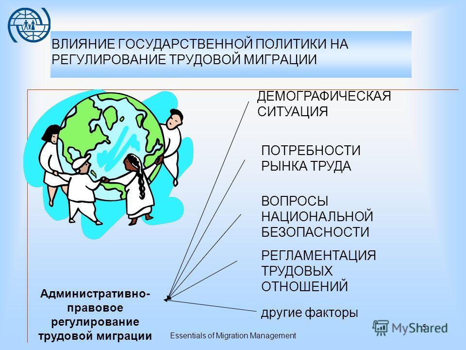 Essentials of Migration Management 4 Трудовая миграция -Политика регулирования рынка труда -Внешняя политика -Демографическая политика Политика Законодательство Администрация