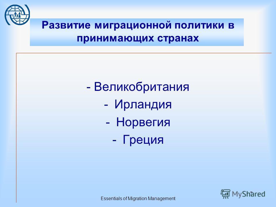 Essentials of Migration Management 6 Трудовая миграция Причины и предпосылки реформирования миграционного законодательства России Демография Потребности рынка труда