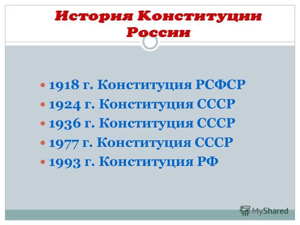 1918 г. Конституция РСФСР 1924 г. Конституция СССР 1936 г. Конституция СССР 1977 г. Конституция СССР 1993 г. Конституция РФ