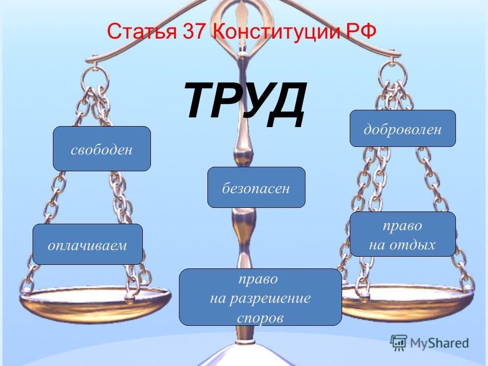 свободен безопасен оплачиваем право на разрешение споров право на отдых доброволен Статья 37 Конституции РФ ТРУД