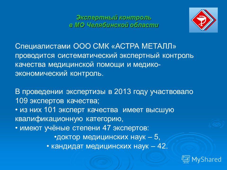 Экспертный контроль в МО Челябинской области Специалистами ООО СМК «АСТРА МЕТАЛЛ» проводится систематический экспертный контроль качества медицинской помощи и медико- экономический контроль. В проведении экспертизы в 2013 году участвовало 109 эксперт
