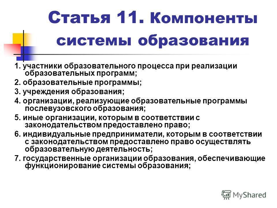Статья 11. Компоненты системы образования 1. участники образовательного процесса при реализации образовательных программ; 2. образовательные программы; 3. учреждения образования; 4. организации, реализующие образовательные программы послевузовского о