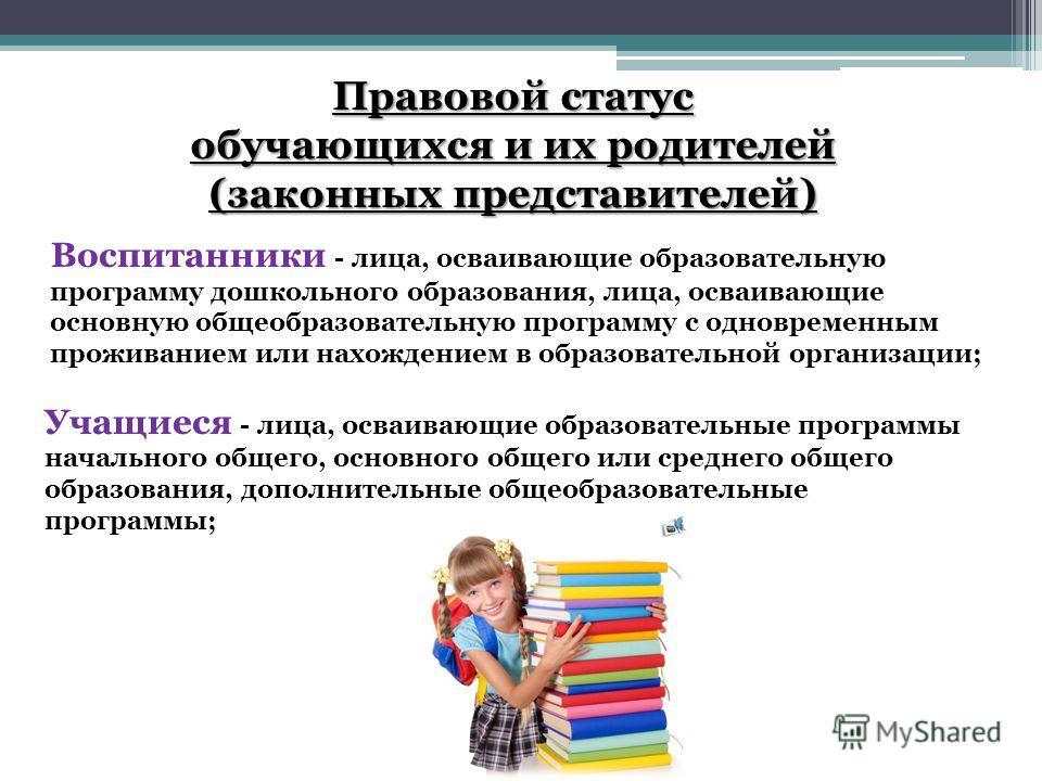 Правовой статус обучающихся и их родителей (законных представителей) Воспитанники - лица, осваивающие образовательную программу дошкольного образования, лица, осваивающие основную общеобразовательную программу с одновременным проживанием или нахожден