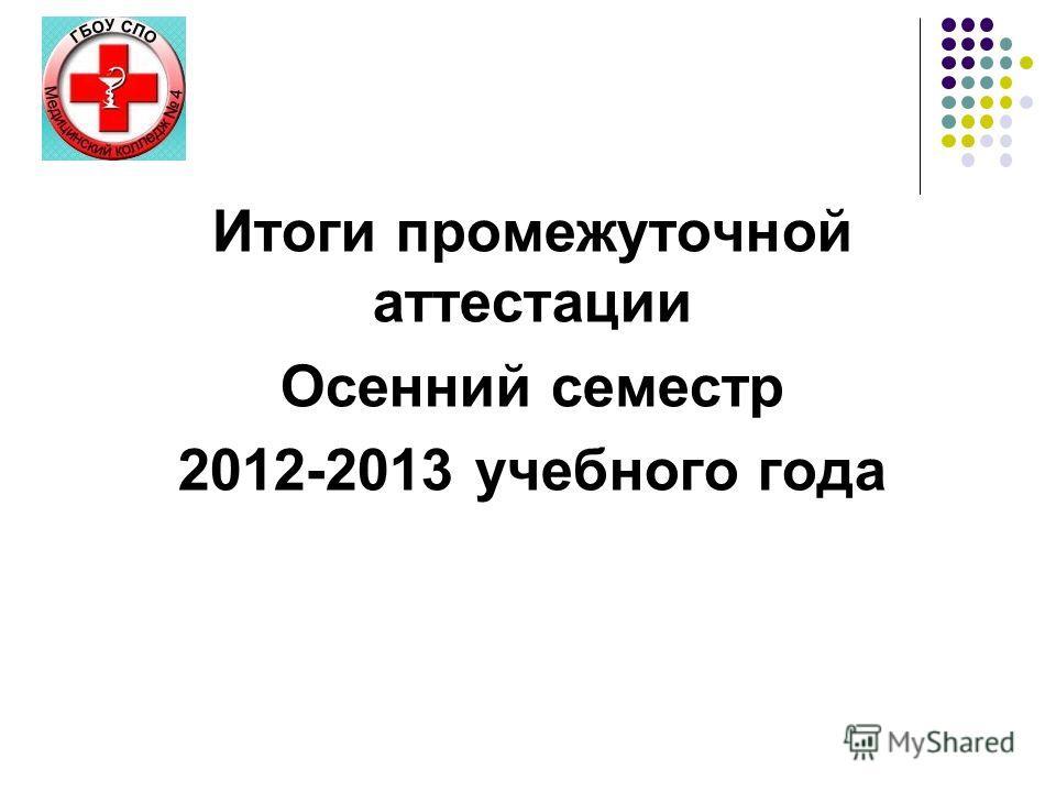 ИТОГИ ПРОМЕЖУТОЧНОЙ АТТЕСТАЦИИ Итоги промежуточной аттестации Осенний семестр 2012-2013 учебного года