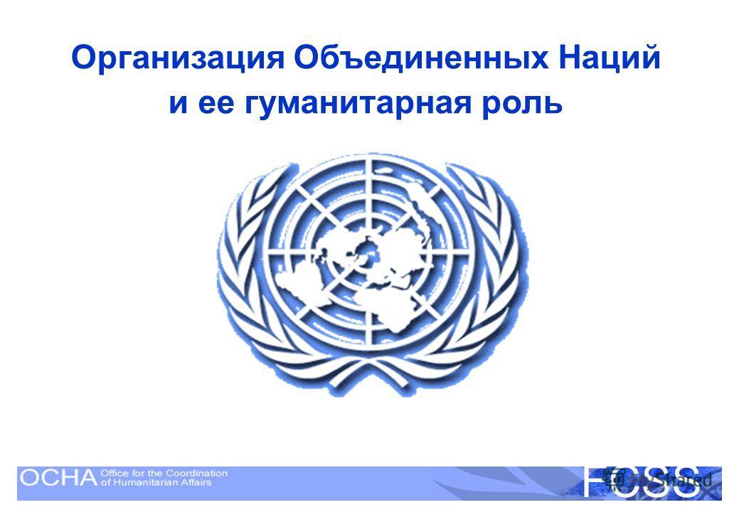 United Nations Disaster Assessment and Coordination FCSS Организация Объединенных Наций и ее гуманитарная роль