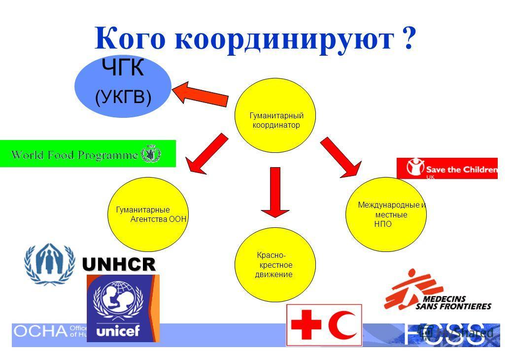 United Nations Disaster Assessment and Coordination FCSS Кого координируют ? UNHCR ЧГК (УКГВ) Гуманитарные Агентства ООН Красно- крестное движение Международные и местные НПО Гуманитарный координатор