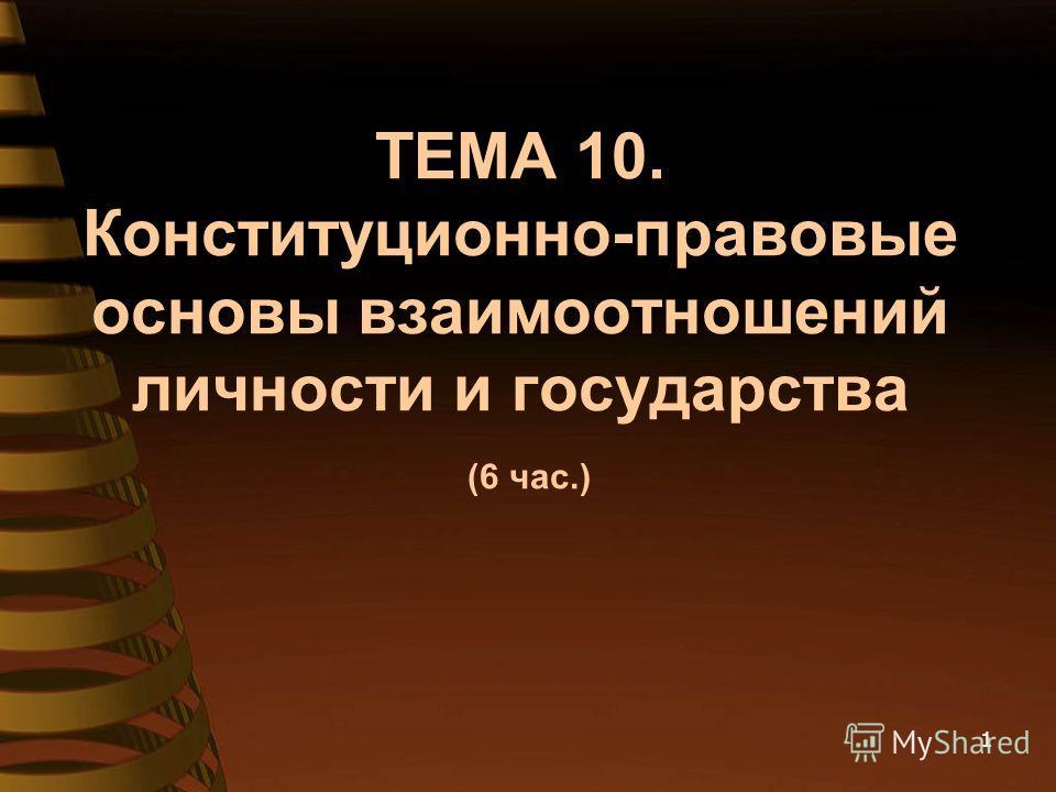 ТЕМА 10. Конституционно-правовые основы взаимоотношений личности и государства (6 час.) 1