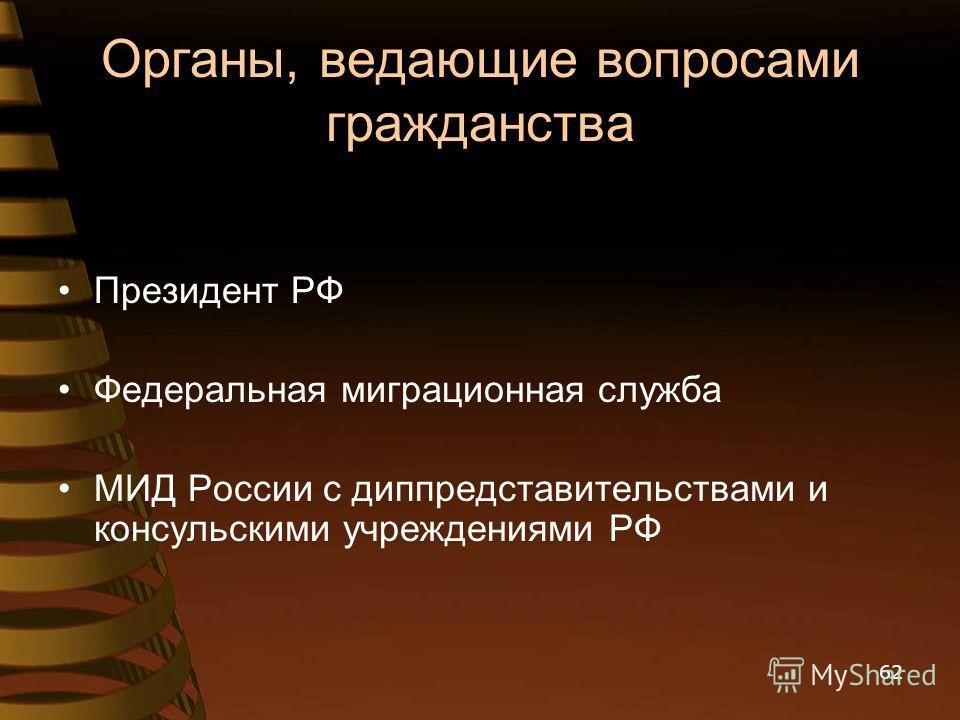 Органы, ведающие вопросами гражданства Президент РФ Федеральная миграционная служба МИД России с диппредставительствами и консульскими учреждениями РФ 62