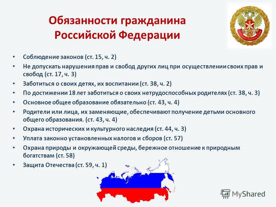 Обязанности гражданина Российской Федерации Соблюдение законов (ст. 15, ч. 2) Не допускать нарушения прав и свобод других лиц при осуществлении своих прав и свобод (ст. 17, ч. 3) Заботиться о своих детях, их воспитании (ст. 38, ч. 2) По достижении 18