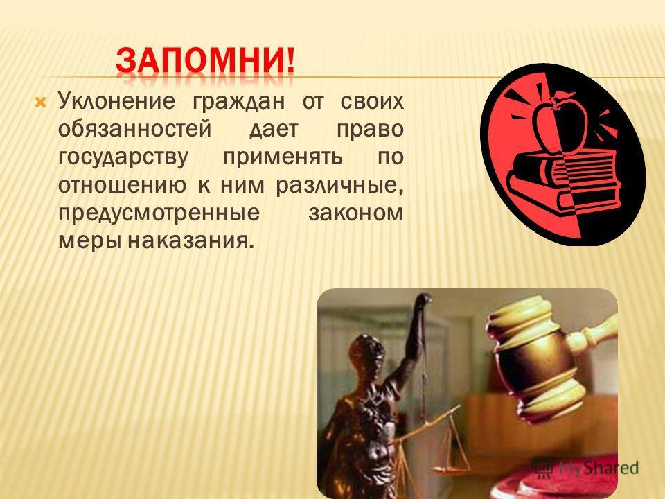 Уклонение граждан от своих обязанностей дает право государству применять по отношению к ним различные, предусмотренные законом меры наказания.