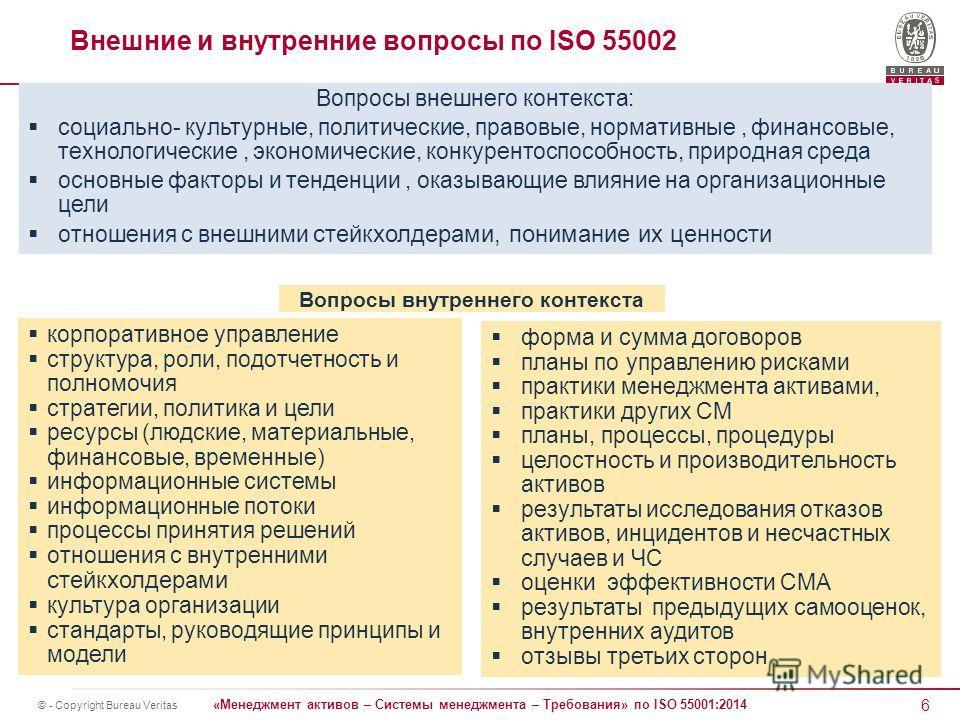 6 «Менеджмент активов – Системы менеджмента – Требования» по ISO 55001:2014 © - Copyright Bureau Veritas Внешние и внутренние вопросы по ISO 55002 форма и сумма договоров планы по управлению рисками практики менеджмента активами, практики других СМ п