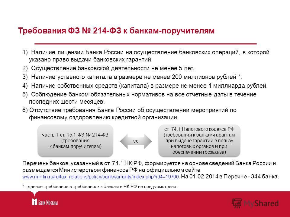 1) Наличие лицензии Банка России на осуществление банковских операций, в которой указано право выдачи банковских гарантий. 2) Осуществление банковской деятельности не менее 5 лет. 3) Наличие уставного капитала в размере не менее 200 миллионов рублей