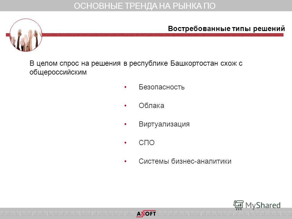 ОСНОВНЫЕ ТРЕНДА НА РЫНКА ПО Безопасность Облака Виртуализация СПО Системы бизнес-аналитики Востребованные типы решений В целом спрос на решения в республике Башкортостан схож с общероссийским
