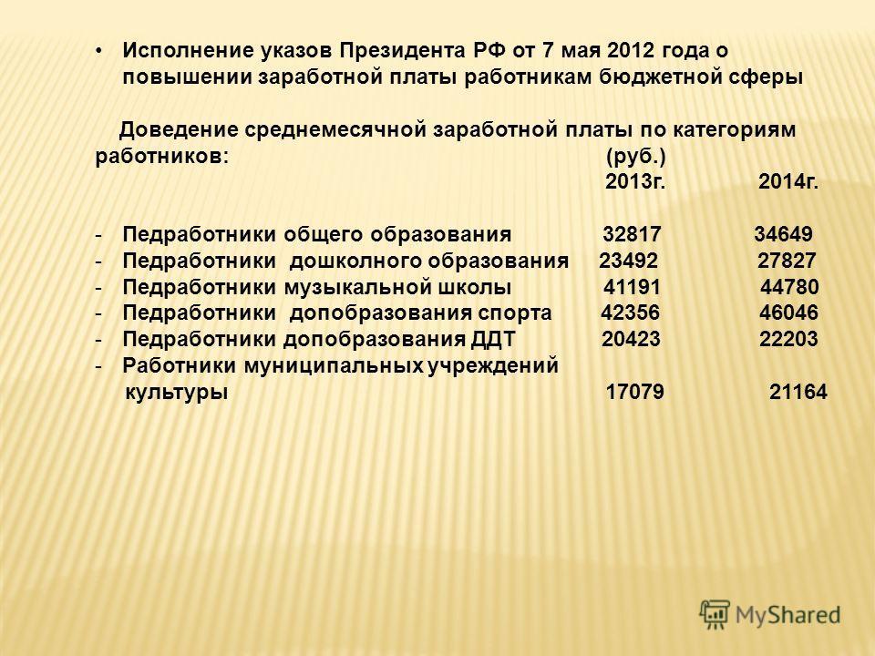 Исполнение указов Президента РФ от 7 мая 2012 года о повышении заработной платы работникам бюджетной сферы Доведение среднемесячной заработной платы по категориям работников: (руб.) 2013г. 2014г. -Педработники общего образования 32817 34649 -Педработ