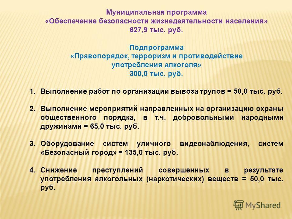 Муниципальная программа «Обеспечение безопасности жизнедеятельности населения» 627,9 тыс. руб. Подпрограмма «Правопорядок, терроризм и противодействие употребления алкоголя» 300,0 тыс. руб. 1.Выполнение работ по организации вывоза трупов = 50,0 тыс.