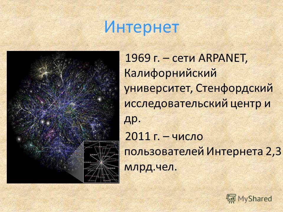 Интернет 1969 г. – сети ARPANET, Калифорнийский университет, Стенфордский исследовательский центр и др. 2011 г. – число пользователей Интернета 2,3 млрд.чел.