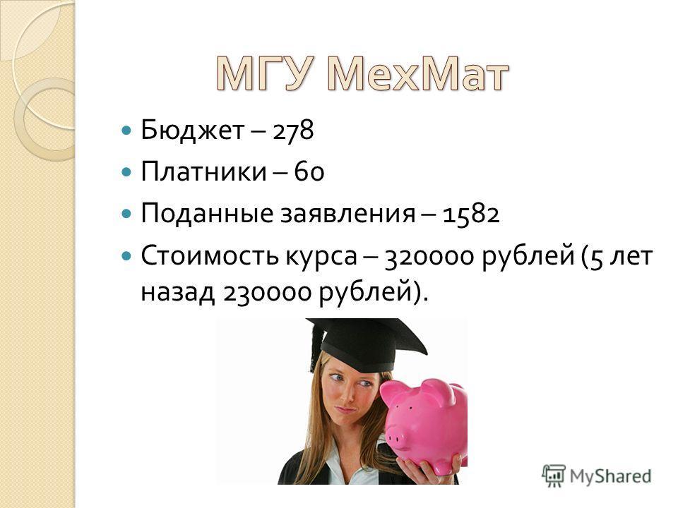 Бюджет – 278 Платники – 60 Поданные заявления – 1582 Стоимость курса – 320000 рублей (5 лет назад 230000 рублей ).